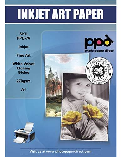 PPD A4 x 25 Blatt PREMIUM Inkjet 270 g/m2 Fine Art Etching Giclée-Papier White Velvet - Hellweiss, Matt, Säurefrei und Archivierbar - geeignet für alle Tintenstrahldrucker PPD076-25