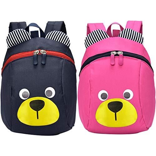 Borsa Anti-Orso - ZSWQ Bambino Animal Orso Scuola Borsa, Piccola Asilo Nido PreSchool Orso Zainetti Ragazzi Ragazze Backpacks,2 PCS(Blu Scuro, Rosa)