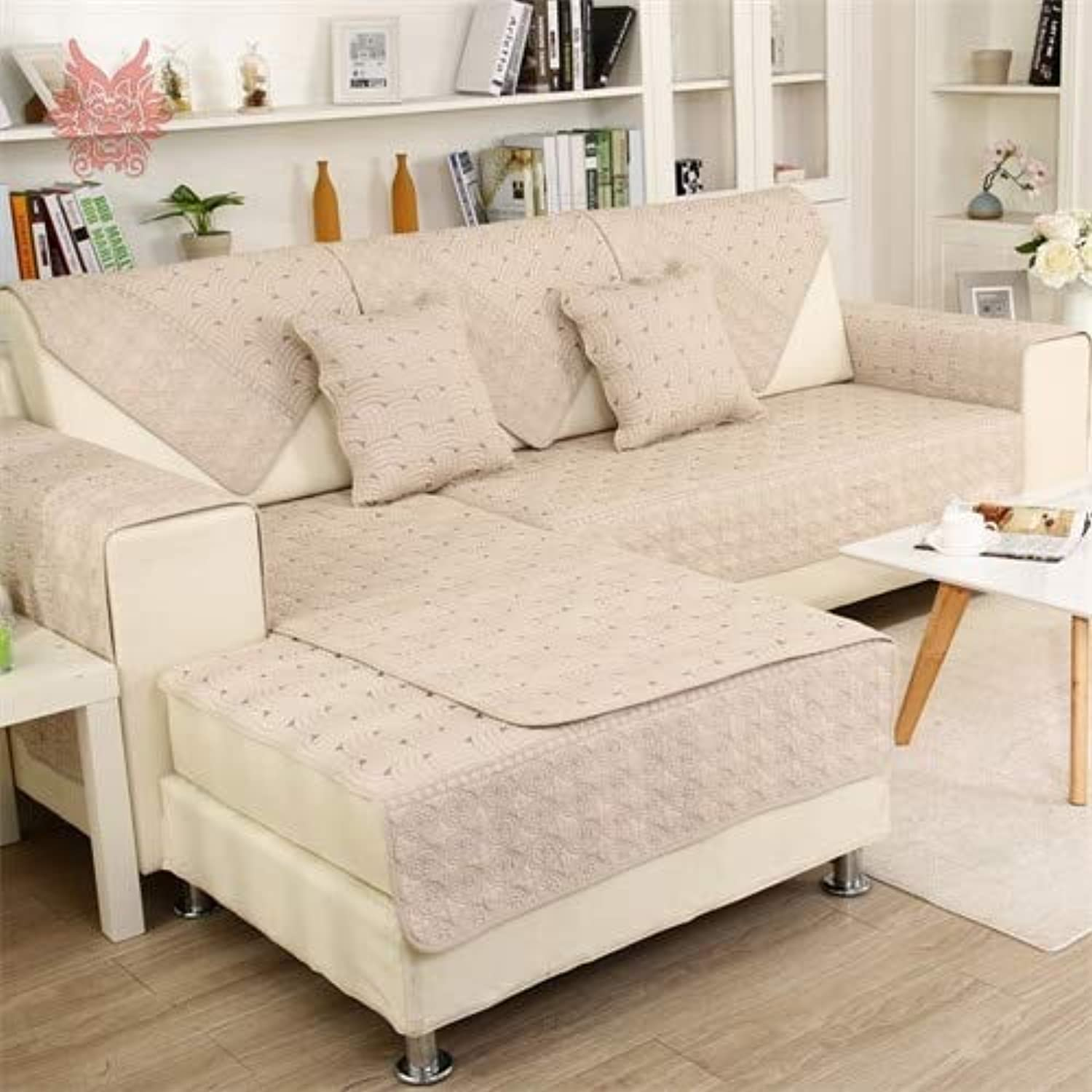 Beige Grey Stripe Embroidery Quilted Cotton Sofa Cover for lig Room Slip canape Couch niture SP5073   Light per pic, 90cm90cm
