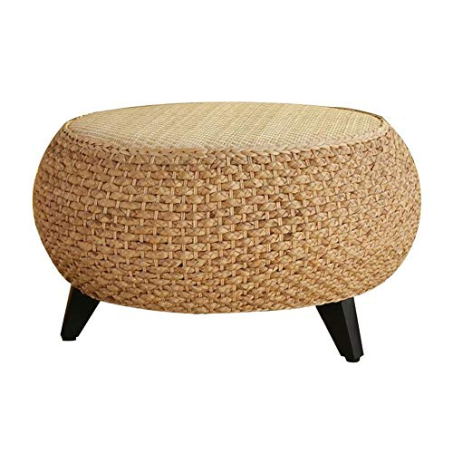 Jcnfa-Tables Solid Wood Rattan Straw Small Round Table, Modern Low Table, Sofa Side Table, Oriental Furniture, Grass Knotwork Coffee Table (Color : Vine Primary Color, Size : 19.6813.77in)