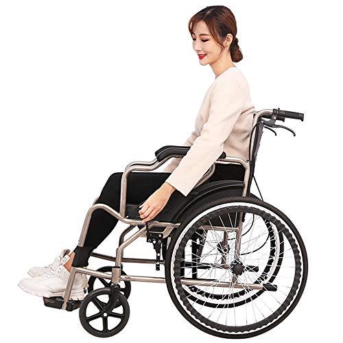 Stalen rolstoel-lichtgewicht opvouwbare rolstoel, voorste handremapparaat, massieve band, nettogewicht 19 kg, geschikt voor thuis en medisch (kleur: zwart)