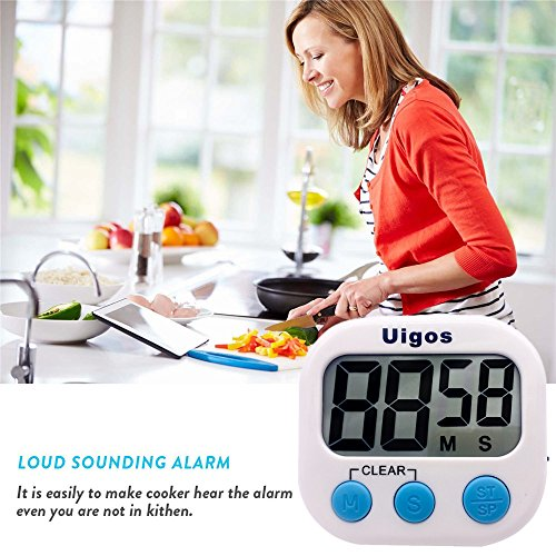 Uigos 2 Pack Digital Kitchen Timer II 2.0, Big Digits, Loud Alarm, Magnetic Backing, Stand, for Cooking Baking Sports Games Office (White) (2 Pack)