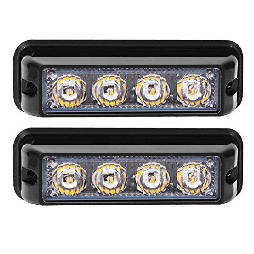 Preisvergleich Produktbild Linchview Frontblitzer 4W LED 12V / 24V Auto Warnleuchten Blitzlicht Stand Licht Cargo Truck Strobe Leuchten mit 16 Blitzmuster (4 LEDs 4W) (Gelb)