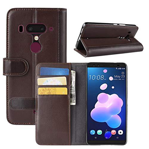 HualuBro HTC U12 Plus Hülle, Leder Brieftasche Etui LederHülle Tasche Schutzhülle HandyHülle [Standfunktion] Handytasche Leather Wallet Flip Hülle Cover für HTC U12+ / HTC U12 Plus - Braun