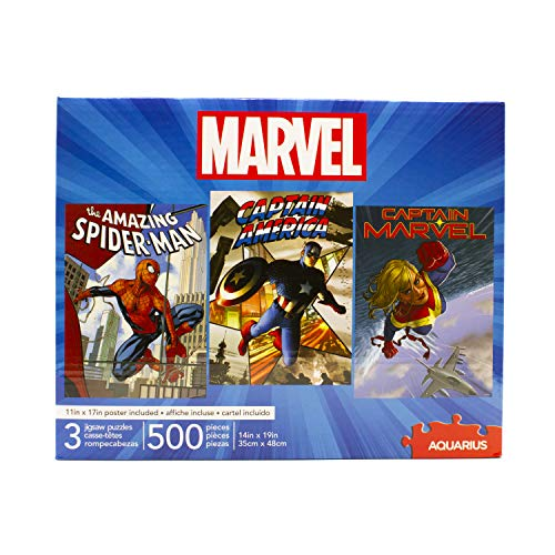 AQUARIUS Set of 3 Marvel Puzzles (Three 500 Piece Jigsaw Puzzles) - Glare Free - Precision Fit - Virtually No Puzzle Dust - Officially Licensed Marvel Merchandise & Collectibles - 14 x 19 Inches Each