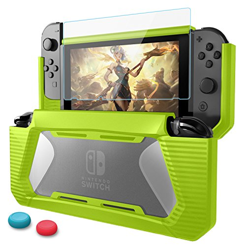 HEYSTOP Compatible with Nintendo Switch Case with Screen Protector & 2 Thumb Cover Caps, TPU Protective Heavy Duty Cover Case for Nintendo Switch with Shock-Absorption and Anti-Scratch (Chartreuse)