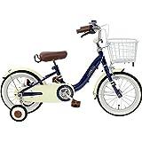 CHIBICLE チビクル 子供用自転車 16インチ チェーンカバー カゴ 泥除け 補助輪付き ネイビー MKB16-34-NB