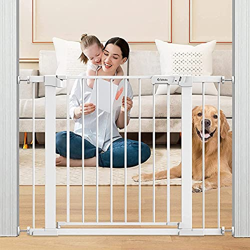 Tokkidas 40.6'-29.5' Auto Close Safety Baby Gate, Extra Wide Dog Gate, Durable Easy Walk Thru Child Gate for Stairs, Doorways, House, Includes 2.75' & 5.5' Extension, Pressure Mounted Kit NO Drilling