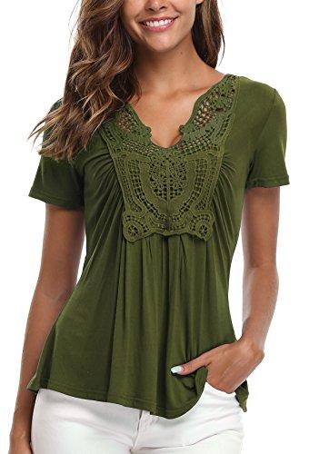 MISS MOLY Kurzarmblusen Damen Sommerbluse Tuniken V Ausschnitt Oberteil Olive Grün X-Large