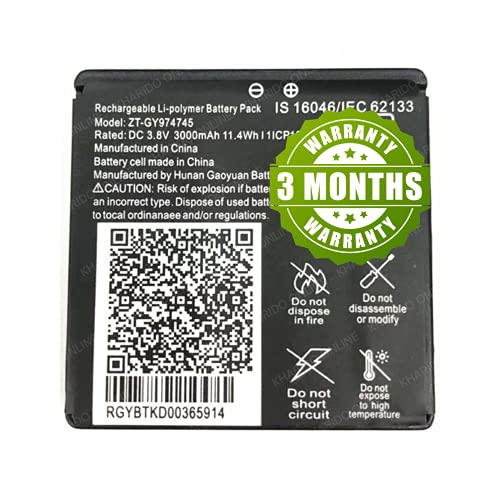 KHARIDO ONLINE ZT-GY974745 3000 mAh Battery for JioFi 6, Jio Router 6, JioFi JMR 1040, JioFi JMR 815 (3 Months Warranty)