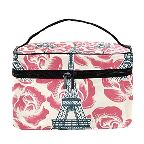Bolsa de maquillaje de viaje con diseño retro de la Torre Eiffel de París con cremallera, bolsa de maquillaje para mujeres y niñas