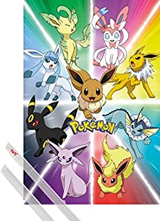 1art1 Poster + Hanger: Pokemon Poster (36x24 inches) Eevee Evolution and 1 Set of Transparent Poster Hangers