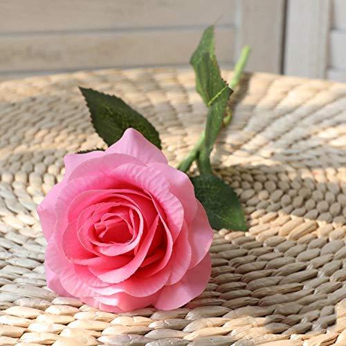 RANJN 10 Piezas Rosa roja Flor Artificial Toque Real Flores de látex Silicona Falsa Rosa Falsa decoración de Ramo para el Banquete de Boda en casa, Rosa