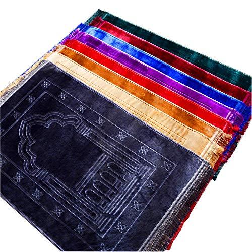 KD 1x Comfort Gebetsteppich Seccade (blau 003, 80 x 120 cm und ca.0,8 cm hoch)/ weiche samtartige Oberfläche - SUPER-SOFTES Trittgefühl