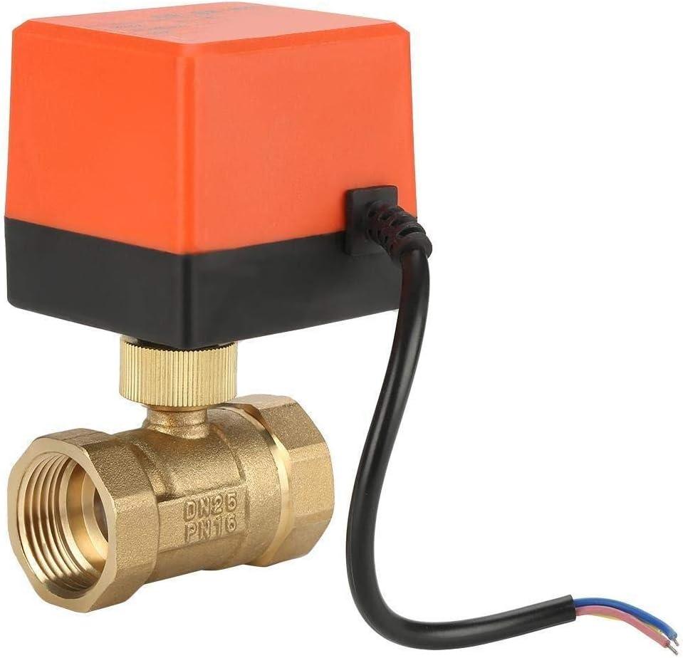 LHQ-HQ Motorizado Válvula de bola, G1 DN25 AC220V 3-Wire 1-punto Brass control motorizado Válvula de bola de 2 vías Válvula eléctrica Compatible with calefacción por suelo radiante Sistemas de calenta