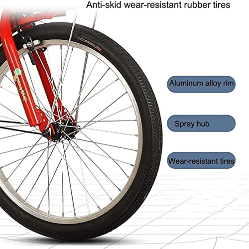 zyy Adult Tricycles 1 Speed 20 Inch Three Wheel Bike Cruiser Trike Foldable Tricycle with Basket for Adults with Brake System Cruiser Bicycles Large Size Basket for Recreation Shopping Exercise