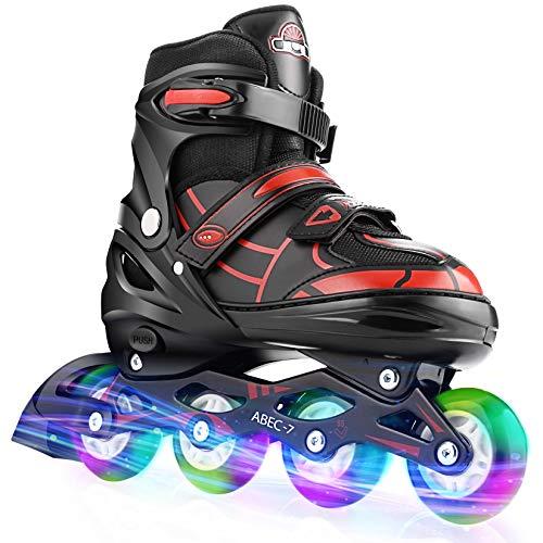 Hikole Inline Skates für Kinder Teenager, verstellbare Rollschuhe mit 8 PU Light Up Rädern Blinkende Inline Skates Klingen für Frauen Mädchen Jungen Männer