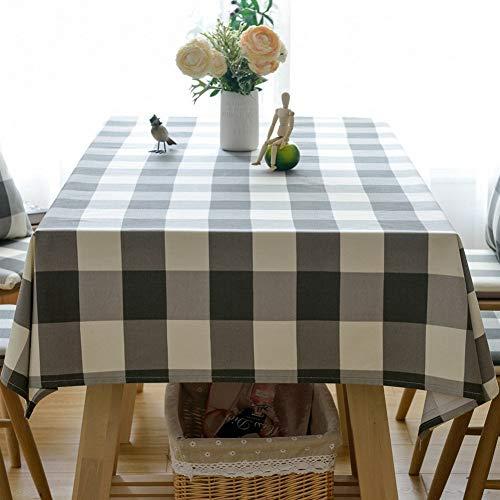 Blanco y negro a cuadros de algodón y lino Mantel, antibacteriano, anti-arrugas Piano polvo de tela for la decoración del hogar, adecuado for la cocina, comedor, terraza, una cafetería Impermeable y a