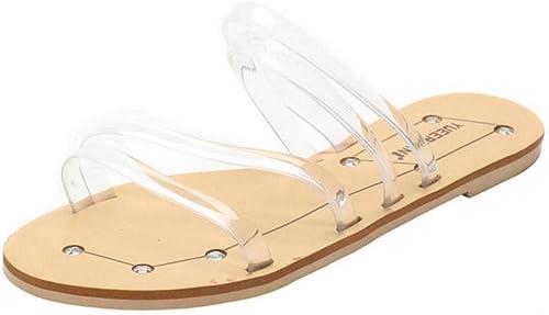 Chaussons Pantoufles pour Femmes légères en en été, Pantoufles polyvalentes en Plastique Transparent Plat et Un Mot, Sandales et Pantoufles Confortables minimalistes élégantes  jusqu'à 60% de réduction