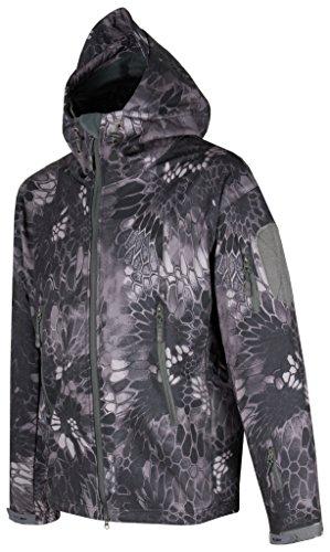 ACE Taktische Softshell-Jacke | Bequeme Outdoor-Kapuzenjacke für Herren | Tactical Military Jacket im Army-Style | Dark Mandrake | Größe XL
