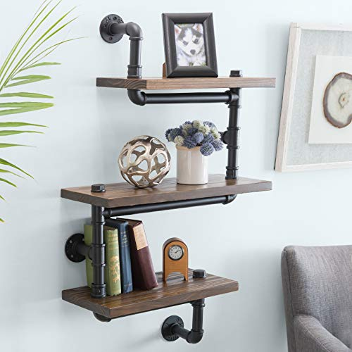 "3-Layer Wooden Wall Floating Rustic Zig Zag Style Shelf 24""x40"" With Industrial Iron Black Pipe Hardware For Bedroom, Kitchen, Office"