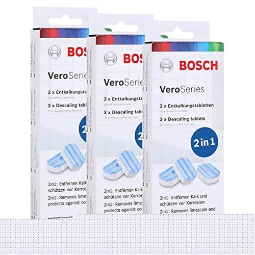 3er Pack Bosch VeroSeries TCZ8002 Entkalkungstabletten 2in1 3x40g - Zur Entfernung von Kalk und zum Schutz vor Korrosion