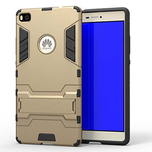 Yhuisen 2 in 1 Iron Armor Tough Style Hybrid Dual Layer Armor Defender PC + TPU beschermende harde Hoezen Met Stand [Shockproof Case] ​​voor Huawei P8 (Color : Gold, Size : Huawei P8)