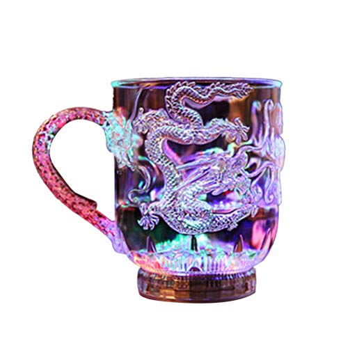 1Pcs Liquid Activated Multicolor LED Glasses Creative Dragon Pattern Light Up Drinking Glasses LED Flashing Cup for Party Bar Club