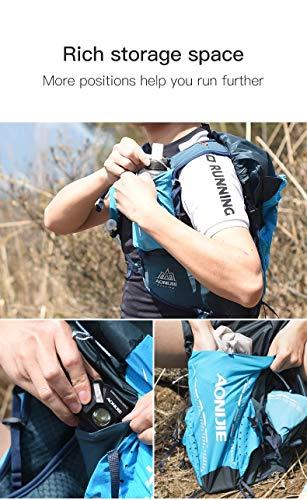 ランニングバックパックアウトドアスポーツ18Lハイドレーションベストバックパックユニセックスライディングハイキングバックパック2個入り420mlウォーターボトル(青,S/M)