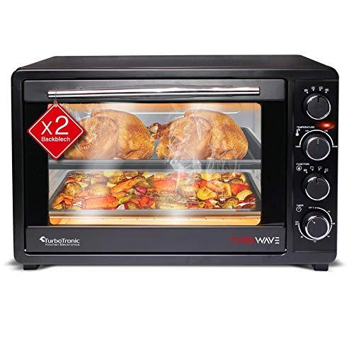 TurboTronic Mini-Backofen mit Doppelverglasung, elektrischer Grillofen, Pizza-Ofen mit Timerfunktion (45Liter)