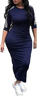 Womens Casual Striped Half Sleeve Crewneck Tunic Bodycon Long Pencil Midi Dress
