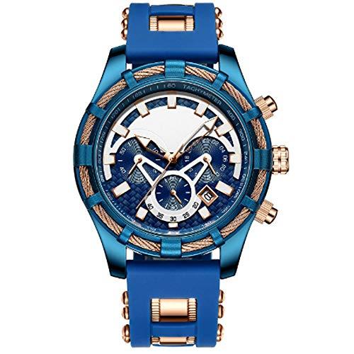 REIUYTHO con Correa de Reloj de Cuarzo de Silicona clásico Masculino, a Prueba de Agua, Relojes de Pulsera de Moda de Negocios, cronógrafo, Negro, Azul (Color : B)