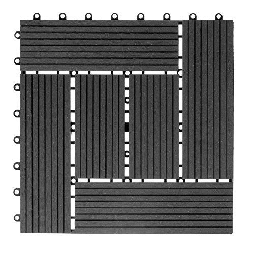 WPC hout kunststof tegels terrastegels kliktegels balkontegels 1 stuk 30 x 30 cm Mosaik antraciet