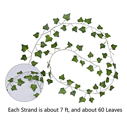 Vilito Funpa 12 Branch 6.89ft Artificial Ivy Silk Fake Hanging Vine Plant Leaves Garland Pant - Large Exterior Nerly Purple Reptile Party Jasmine Natural Size Eucalyptus Ledge Bam