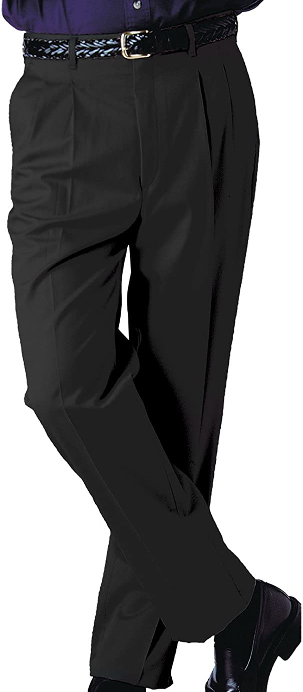 Ed Garments Men's Tall Business Casual Chino Pleated Pant, Black, 48 UR