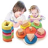 幼児-良いの幼児のおもちゃのためのジオメトリパズルは、初期の形状、色、サイズの差別を安定させることができます:それは子供たちの想像力を刺激し、その物理的、知的発達を促進することができます。サイズは子供の手に適しており、運動に子どもたちに同行するために最良の選択です。 再生と運動手と目の協調や想像力に研究-ゲーム:これは、子どもたちが形、色、カウント、手と目のコーディネーションを学ぶのを助けることができる幼児に適した教育の形状の木製のおもちゃ、です。あなたの子供のための娯楽の時間を持参美しいパズル...