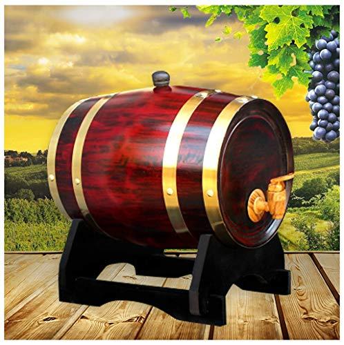 barril de vino de madera Barril de roble 1.5L / 3L / 5L / 10L, barricas de roble vintage con almohadilla de papel de aluminio incorporada Usado para cerveza, vino tinto, licor tequila, durable (con gr