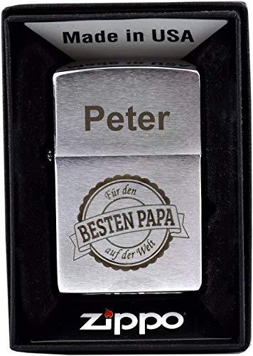 Zippo Feuerzeug mit Gravur - Geschenk für Papa/Bester Papa der Welt - Individuell - Geschenkidee - Vatertag