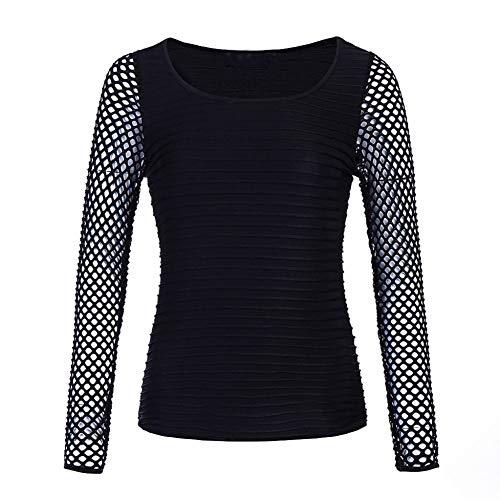 PKYGXZ Tunique Femme Résille Mince Coupe Basse T-Shirt Femmes à Manches Longues Hauts en Filet Punk Rock Gothique Mode Maille Perspective T-Shirt Chemisier