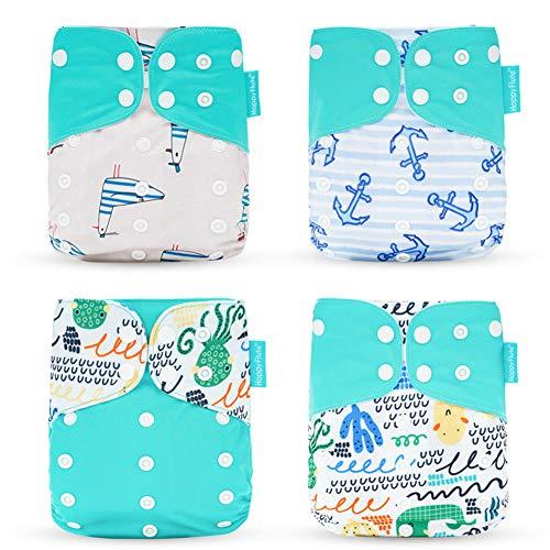 HahaGo 4 STKS Baby Doek Luier Wasbare Herbruikbare Luiers Invoegen All-in-One Pocket luier voor de meeste Baby's en Peuters Groen, kat