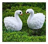 ASFJKSIE 2pcs / Set Acuario White Swan Figuras Decorativas Fish Tank Hada adorna Jardín Animales Estatua Dollhouse Musgo DIY Arte de la Resina (Color : Feather Swan, Size : Small)