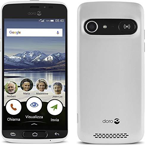 Doro 8040 (desbloqueado) 16GB, cámara de 8MP, pantalla de 5', GPS, Smartphone para Senior (blanco) sin cuna de carga
