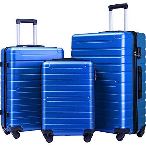 Flieks Luggage Sets 3 Piece Spinner Suitcase Lightweight 20 24 28 inch (Elegant Blue)