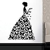 Vestido de mariposa Etiqueta de la ventana Salón de belleza Mujer Moda Estilo Ropa Boutique Vestido Vestido negro Modelo Etiqueta de la pared Otro color 42x60cm