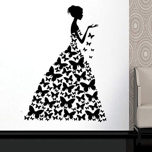 KAITANG Mariposa Vestido Ventana Etiqueta Del Salón De Belleza Mujer Estilo De Moda Ropa Boutique Vestido Negro Vestido Modelo 57x81cm