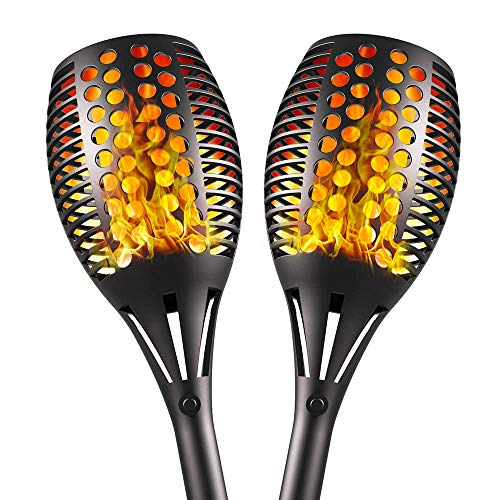 Aityvert Upgraded Solar Torch Lights 43 inches Flickering Dancing Flames Waterproof Outdoor Landscape Decorations Lighting Dusk to Dawn Auto On/Off Solar Lights for Halloween Christmas 2-Pack