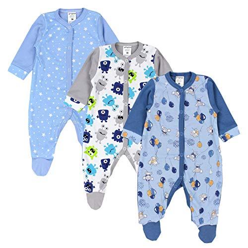 TupTam Baby Jungen Schlafstrampler mit Fuß 3er Pack, Farbe: Farbenmix 7, Größe: 80