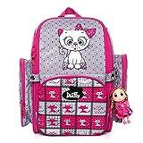 Delune - Mochila escolar para niño, diseño ergonómico, gato rosa, L