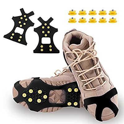 DUALF Traction Cleats, Snow Grips Ice Creepers Over Shoe Boot,Anti Slip 10-Studs TPE Rubber Crampons with 10 Free Studs for Footwear (Blue/Black) (Black, Small)