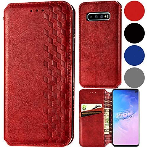 Roar Flip Hülle Hülle für Samsung Galaxy S10, Handyhülle Schutzhülle Tasche Klapphülle Handytasche für Samsung Galaxy S10, Rot